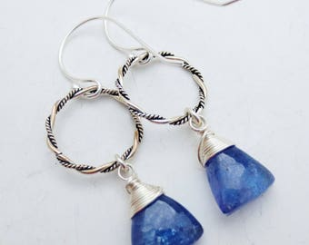 Tanzanite Gemstone Sterling Silver Hoop Earrings EE Designs