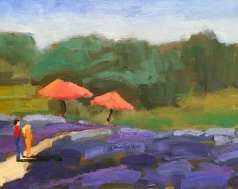 MATANZAS CREEK WINERY, 8 x 16 - Sonoma County Vineyard, California Landscape - Original - Plein Air Painting - Home Decor - Art - Lavender