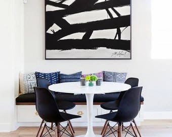 Original Abstract Large Black and White Minimal Painting Contemporary Art Acrylic Painting Canvas Kline Style Artwork 36 x 36 by Sky Whitman