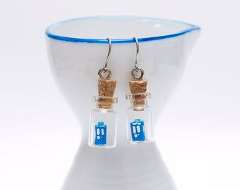 Origami TARDIS in tiny glass bottle earrings