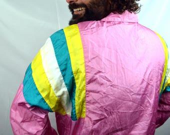 Vintage 90s Rainbow Windbreaker Pink Blue Jacket Coat - Vengo