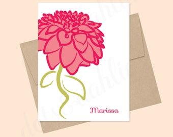Dahlia notecards, Dahlia stationery set, personalized cards