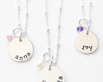 Little Girl Necklace, Little Girl Jewelry, Little Girls Necklace, Little Girls Jewelry, Silver Name Necklace, Personalized Girl Jewelry