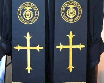 Navy Chaplain Clergy Stole in Black and Gold