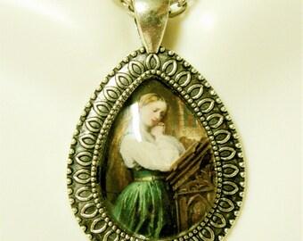 Girl in prayer teardrop pendant with chain - AP15-081