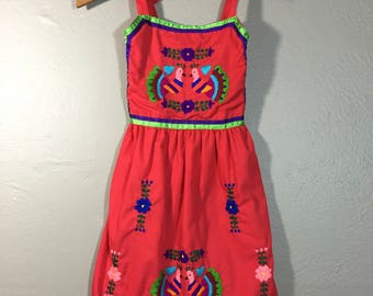 Vintage 70's Childs Mexican Embroidered Peacocks Smocked Sun Dress