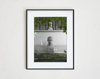 BIG HEAD No. 1  |  instant download, printable wall art, modern photography, statue, sculpture, garden, minimal, simple, black & white