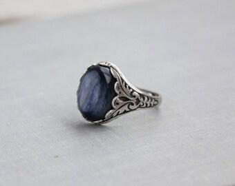 Kyanite Ring. Blue Kyanite. Antique Silver or Antique Brass