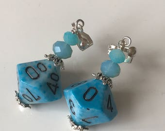 blue dice D10 dice earrings dice jewelry dungeons and dragons D10 earrings polyhedral dice pathfinder dice earrings dice D10 mage studio