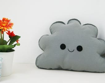 Smiling grey cloud cushion, cloud shape pillow, happy face pillow, Cloud Nursery decor, Kids Room Decor, Baby Room Decor, Kids Cushion