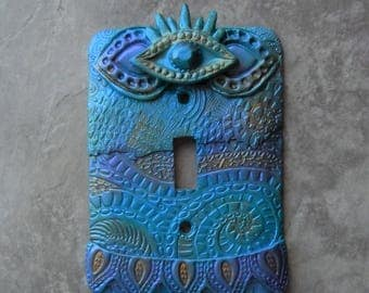 Blue Eye of Protection, switch plate, light switch cover, polymer clay, blue, boho,