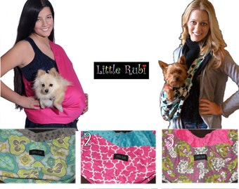 New Little Rubi Pet carrier sling for dogs cats tote bag purse wear your pet Reversible lined fresh cotton 2 sided XS - XL