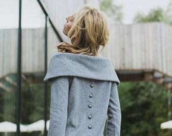 SALE - Soft sweater | Light gray sweater | Button back sweater | LeMuse soft sweater