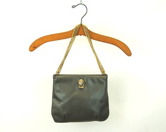 Ruth Saltz bag cougar bag gray leather gold chain convertible strap tension closure 1970s