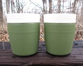 Avocado Green Olympian Therm-O-Ware Set of Two Insulated Cups Juice Tumblers Vintage Unbreakable