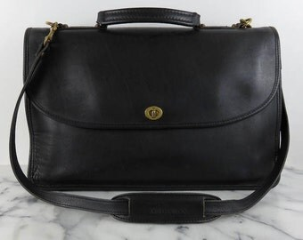 Vintage Schlesinger Briefcase Leather Black Messenger Bag Coach Business Shoulder Bag Unisex