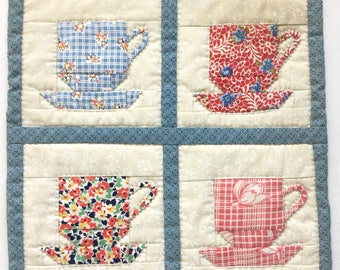 Patchwork Tea Cup Mug Rug or Coaster in Blue and Red