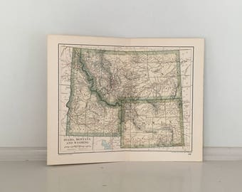 Montana Map Art Etsy - Map of montana and wyoming