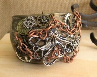 Steampunk Octopus Vintage Cuff Bracelet, Cuff Bracelets, Steampunk Cuff Bracelet, Assemblage Cuff Bracelets, One Of A Kind Vintage, SB009