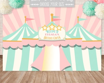 DIGITAL Pink Circus Posters & Backdrops, Carnival Poster, Carnival Backdrop, Circus Party, Customized w/ Your Wording, Printable JPEG File