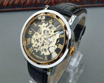 Premium Mechanical Wrist Watch, Black Leather Wristband, Black and Gold Watch, Men's Watch, Engraved Watch, Gift Boxed Watch - Item MWA194