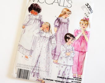 Vintage 1980s Girls Size 4-6 Robe Nightgown Pajamas McCalls 3392 Sewing Pattern FACTORY Folds Prairie Girl Style / b23-25""