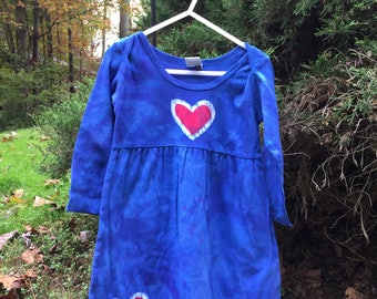 Long Sleeve Girls Dress, Blue Girls Dress, Batik Girls Dress, Red Hearts Dress, Patriotic Girls Dress, Cotton Girls Dress (2T)