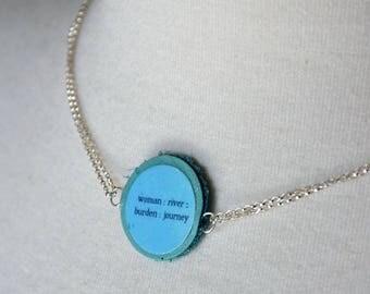 Zen koan leather link sterling silver necklace