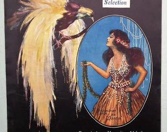 Antique sheet music - The Bird of Paradise Selection Hawaiian Melodies 1919 Lyric Theatre London UK - theatrical production - paper ephemera