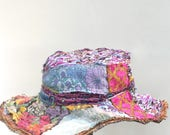 Handmade Wide Brimmed Hat Fall Colors Beautiful Festival Hat Frayed Edges