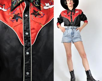 50s 60s Satin Cowboy Shirt Embroidered Cowboy Hats Snap Front Vintage Country Western Shirt Collared Rodeo Red Black Shirt (M/L) E9030