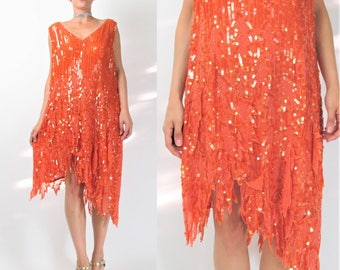 Vintage Flapper Style Silk Sequin Dress 1990s does 1920s Dress Orange V Neck Beaded Cocktail Party Evening Dress Asymmetrical (XL) E530