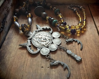 Vintage Mayan necklace made of coins milagros and amber amethyst trade beads, quetzalcoatl chachal charm necklace, tribal jewelry, milagros