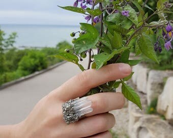 Statement Jewelry Statement Ring Boho Ring Boho Jewelry Adjustable Ring for Women Quartz Crystal Ring Quartz Crystal Jewelry Pyrite Ring