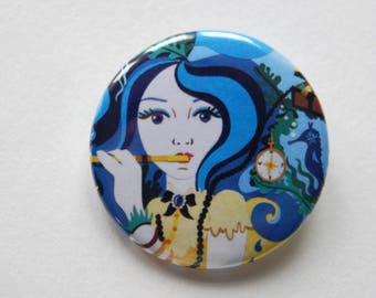 Mermaid Badge Pin- Cute Badge Pin- Fairytale Badge Pin- Wearable Art