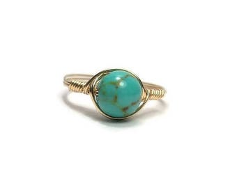 25% Off Sale LG Turquoise Magnesite 14k Yellow Gold Fill Wire Wrapped Ring