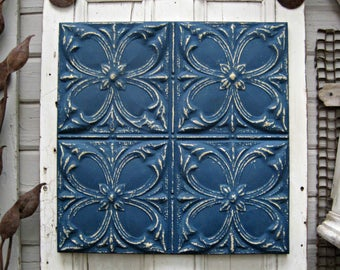 Tin Ceiling Tile. FRAMED 2x2 antique metal tile.  Vintage architectural salvage decor. Navy blue, Indigo blue wall decor. Old pressed tin.