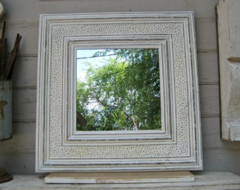 Ceiling tin tile mirror. 2'x2'.  Antique architectural salvage wall decor. Bathroom bedroom mirror. Shabby mirror.