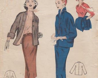 Butterick 6647 / Vintage 50s Sewing Pattern / Skirt Jacket Blouse Suit / Size 16 Bust 34