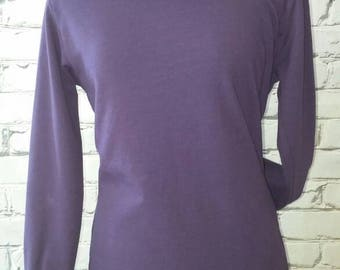 Purple Funnel Neck Sweatshirt with Gray Print