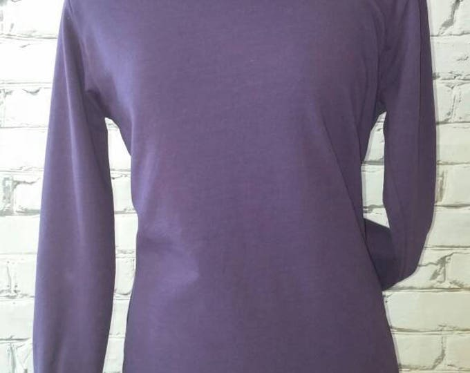 Purple Funnel Neck Sweatshirt with Gray Print