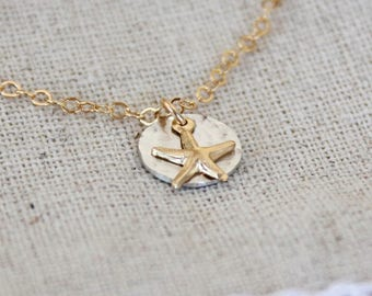 Tiny Starfish Necklace, Beach Jewelry, Tiny Gold Starfish Necklace, Dainty Starfish Gold Filled, Sterling Silver Hammered Mixed Metal
