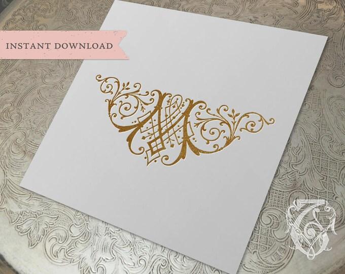 Vintage Wedding Crest Initial M Digital Download