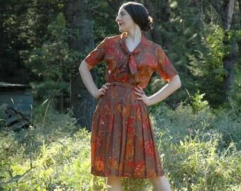 1950s Dress / 50s Dress / Day Dress / Autumn Dress / Fall Dress / Autumn Colors / Vintage Dress / 50s Dress for Women