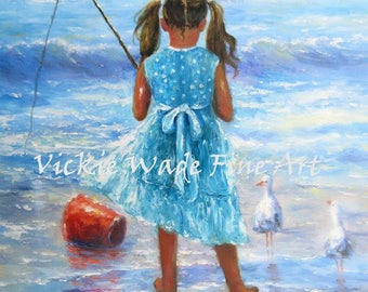 Little Beach Girl Fishing Art Print, fishing, little girl fishing, fishing painting, ocean fishing, beach wall art, Vickie Wade Art
