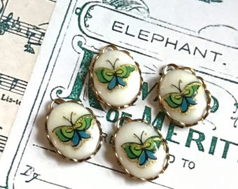 Butterfly charms, porcelain charms,garden Vintage Charms Limoges,9x12mm charms,Butterflies,Limoges Connectors Findings #1442H