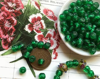 50 Vintage Cherry Brand, Miriam Haskell Glass Beads 5mm, Japan Emerald Beads, green 1950's Old Stock, Baroque Beads, Handmade Beads #B65