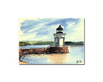 "LIGHTHOUSE 4 Portland Breakwater ""Bug Light"" Maine watercolor seascape painting Sandrine Curtiss ORIGINAL art ACEO"
