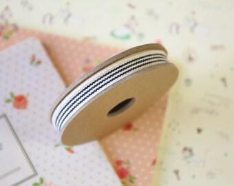 Cream with Black Stripes Thin Natural Ribbon