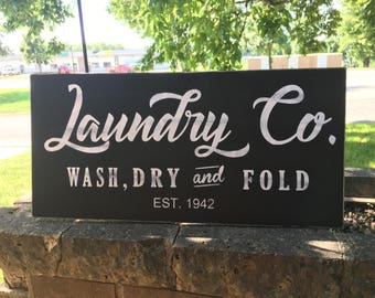 "Laundry Co. Established Sign,Laundry Room Sign Joanna Gaines Style,Farmhouse Style, Sign, Rustic Hand Painted Sign, Dawnspainting, 24"" x 12"""
